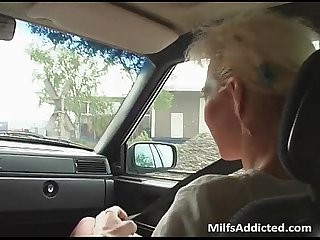 Old blonde slut fucks some guy in the