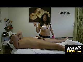Curvy asian masseuse gets her pussy fucked