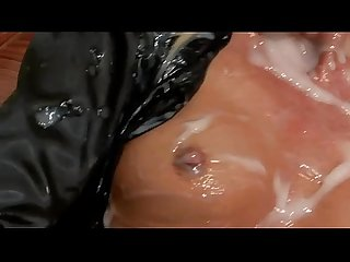 Glamorous babe gets cum bath from cock in gloryhole