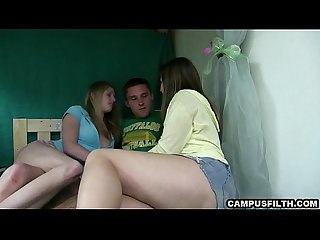 Lucky college guy fucking two sexy campus girls