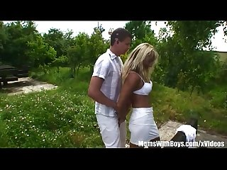 Old Blonde Eva In Public Two On One Fucking