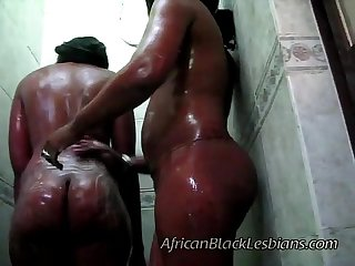2 big booty africans go naughty in this amateur shower scene