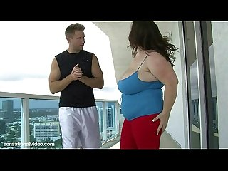 BBW Soccer Mom Bent Over and Fuck on Balcony