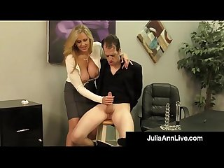 Adult award winner julia ann drains a cock with hot handjob