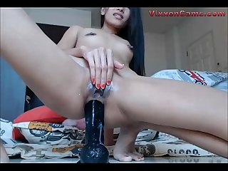 Sexy cam girl rides dildo and squirts