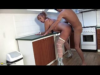 Hairy mature lady gets fucked in the kitchen