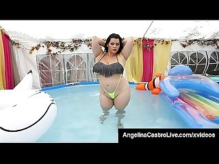 Wet cuban bbw angelina castro throat fucks cock in pool excl