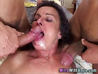 Two cocks on one old pussy