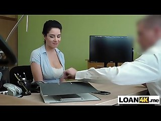 Big boobs Czech MILF sucks and fucks to get her loan