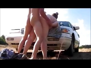 Sexy Mom get Ass fucked on car hood deep creampie and orgasm