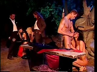 Outdoor night orgy with the Venere Bianca