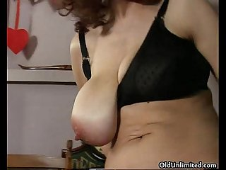 Horny old mom sucking a cock and getting