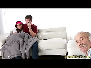 Pervertfamily scared sister fucked by brother next to grandfather