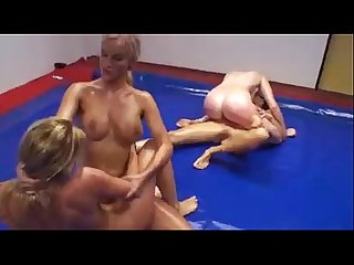 Four women wrestling naked