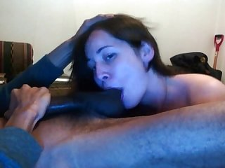 Amber sucks big black dick
