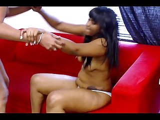 Ebony models strip and fight