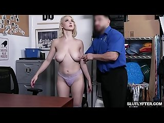 Blonde thief with big tits Skylar Vox getting down and dirty as she gets a hard banging from behind