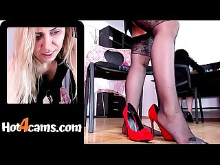 Red high-heels full of squirt by naughty secretary masturbating with brunette colleague in office..