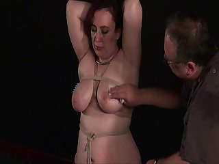 Amateur needle torment of busty english slaveslut nimue in breast bondage and pl