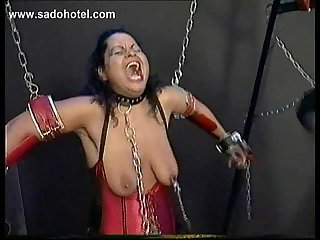 Two tied horny slaves with their bodies covered with metal clamps got pulled on their nipples