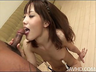 Ageha kinashita rims A hairy Ass before she sucks A dick and has her furry muff
