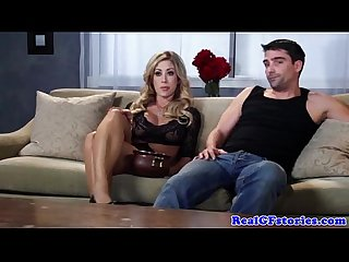 Bigtit housewife takes on two cocks