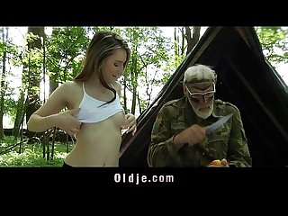 Nympho teeny fuck with big dick grandpa in the woods