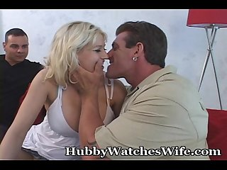 Busty wife surprises hubby while fucking another man