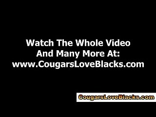 Interracial cougar in spex gets cock
