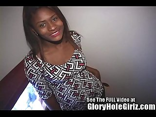 Ebony Girl Using Her Tongue Ring in the Gloryhole
