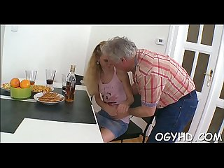 Horny young sweetheart screwed by old guy