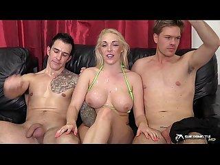 Hot blonde gangbanged in her living room
