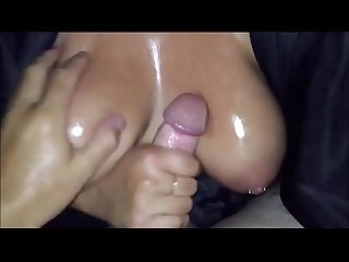 Cumming on A bbw s big breasts pov