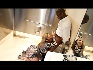 Pornstar Sara Jay Sucks Huge Black Cock in Bathroom