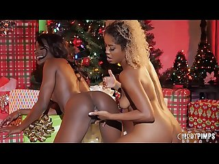 Ebony lesbians lick each other S pussies and asses for the holidays