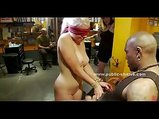 Blonde slut gets tied up and used hard
