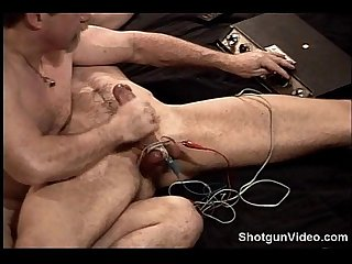 Hot muscular dude big dick electro stim