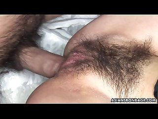 Hairy Asian babe Sayo Hayakawa bound and double fucked hard