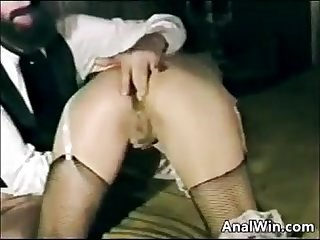 Vintage blonde anal fingering and fucking