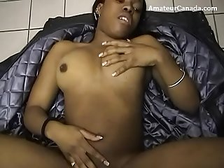 Busty African sex with BWC after public washroom BJ