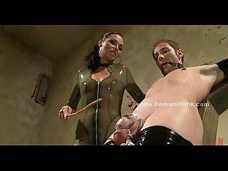 Mistress rides lover near tied slave
