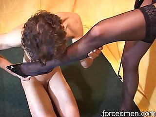 Naked slave worships mistress pantyhosed legs