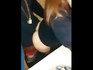 Hot teen bitch takes bbc in the bathroom