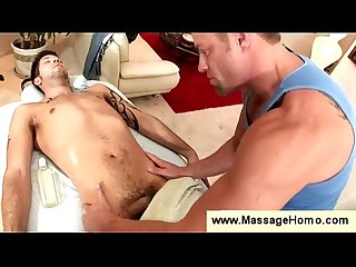 Gay masseur toys his clients asshole
