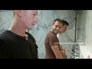 Gay boy in rest room gangbang sex