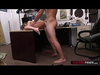 Brunette amateur woman gets fucked hard by shawn in his office