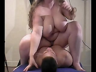 Fat blonde sitting on slaves face