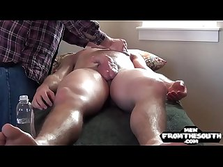 Horny naked jock gets a naughty massage