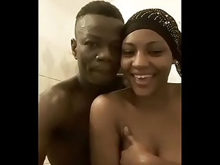 Beautiful ghanaian st period louis high school teen graduate aisha takes shower with boyfriend perio