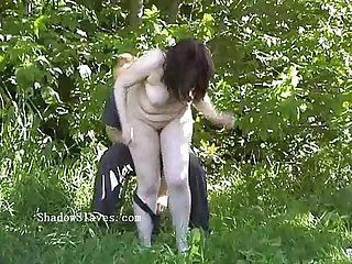 Outdoor bdsm of bbw slave in stinging nettle torment and extreme public bondage